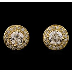 1.34 ctw Diamond Earrings - 14T Yellow Gold