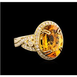 14KT Yellow Gold 7.71 ctw Citrine Quartz and Diamond Ring