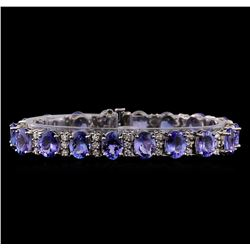 29.12 ctw Tanzanite and Diamond Bracelet - 14KT White Gold