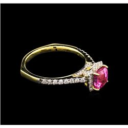 1.38 ctw Pink Sapphire and Diamond Ring - 18KT Yellow Gold