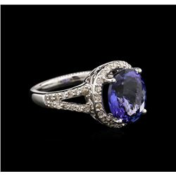4.64 ctw Tanzanite and Diamond Ring - 14KT White Gold