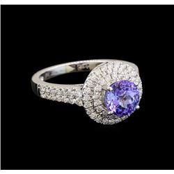 18KT White Gold 1.37 ctw Tanzanite and Diamond Ring