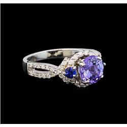 14KT White Gold 1.92 ctw Tanzanite, Sapphire and Diamond Ring