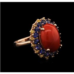 5.85 ctw Coral, Sapphire and Yellow Diamond Ring - 14KT Rose Gold