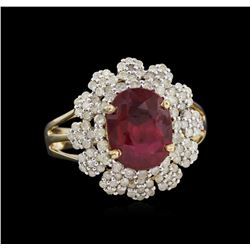 3.75 ctw Ruby and Diamond Ring - 14KT Yellow Gold