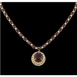 14KT Yellow Gold 40.78 ctw Ruby and Diamond Necklace