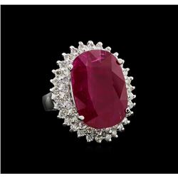 GIA Cert 14.36 ctw Ruby and Diamond Ring - 14KT White Gold