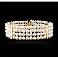 14KT Yellow Gold Pearl and Diamond Choker