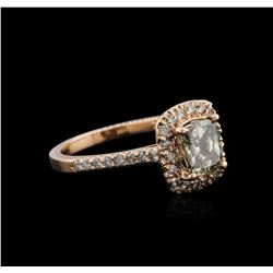 14KT Rose Gold 1.66 ctw Fancy Yellowish Green Diamond Ring