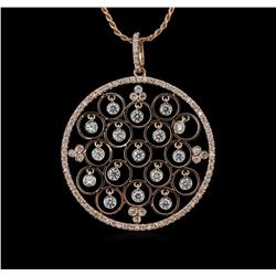 1.36 ctw Diamond Pendant With Chain - 14KT Rose Gold