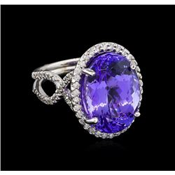 15.03 ctw Tanzanite and Diamond Ring - 14KT White Gold
