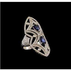 14KT White Gold 1.98 ctw Sapphire and Diamond Ring