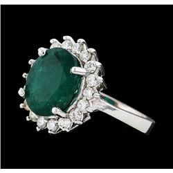 3.85 ctw Emerald and Diamond Ring - 14KT White Gold