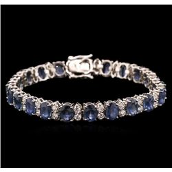 22.00 ctw Blue Sapphire and Diamond Bracelet - 14KT White Gold
