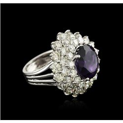 14KT White Gold 7.46 ctw Amethyst and Diamond Ring