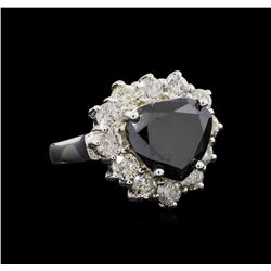 7.97 ctw Black Diamond Ring - 14KT White Gold