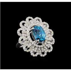 8.44 ctw Blue Zircon and Diamond Ring - 14KT White Gold