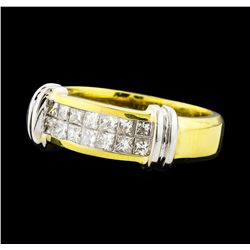 0.65 ctw Diamond Ring - 18KT Yellow With Rhodium Plating Gold