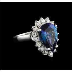 6.41 ctw Tanzanite and Diamond Ring - 14KT White Gold