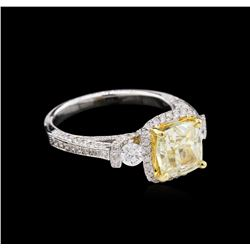 GIA 3.34 ctw Yellow Diamond Ring - 18KT White Gold