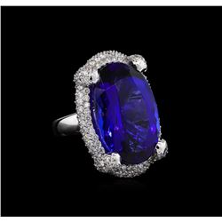 14KT White Gold GIA Certified 33.85 ctw Tanzanite and Diamond Ring