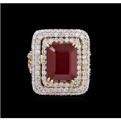 9.26 ctw Ruby and Diamond Ring - 14KT Yellow Gold