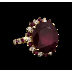 14KT Yellow Gold 15.25 ctw Ruby and Diamond Ring