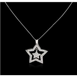 14KT White Gold 0.70 ctw Diamond Star Pendant With Chain