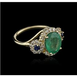 14KT Yellow Gold 3.06 ctw Emerald, Sapphire and Diamond Ring