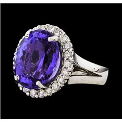 GIA Cert 10.23 ctw Tanzanite and Diamond Ring - 14KT White Gold