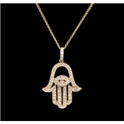 0.68 ctw Diamond Pendant With Chain - 14KT Yellow Gold