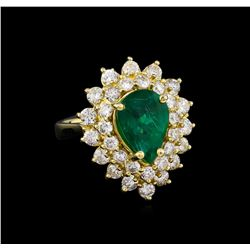14KT Yellow Gold 2.43 ctw Emerald and Diamond Ring