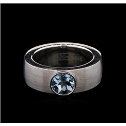 1.10 ctw Aquamarine Solitaire Ring - 14KT White Gold