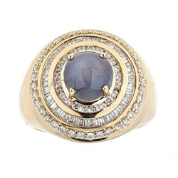 5.68 ctw Star Sapphire and Diamond Ring - 14KT Yellow Gold