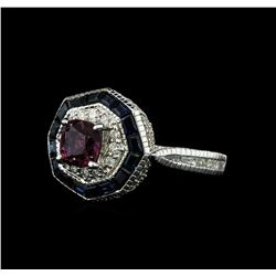 2.38 ctw Purple Sapphire and Diamond Ring - 18KT White Gold