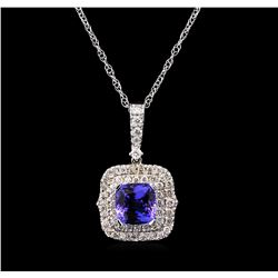 5.12 ctw Tanzanite and Diamond Pendant With Chain - 14KT White Gold