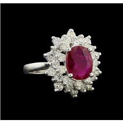 GIA Cert 2.17 ctw Ruby and Diamond Ring - 14KT White Gold