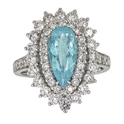 1.65 ctw Paraiba Tourmaline and Diamond Ring - 18KT White Gold