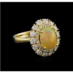 1.91 ctw Opal and Diamond Ring - 14KT Yellow Gold