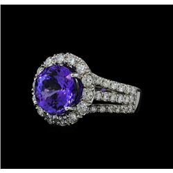 5.26 ctw Tanzanite and Diamond Ring - 14KT White Gold
