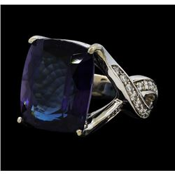 21.63 ctw Tanzanite and Diamond Ring - 14KT White Gold