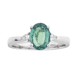 1.98 ctw Alexandrite and Diamond Ring - 18KT White Gold