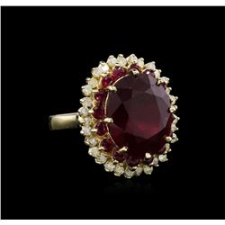 14.57 ctw Ruby and Diamond Ring - 14KT Yellow Gold