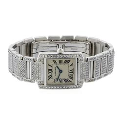 Cartier 18KT White Gold 5.00 ctw Diamond Tank Francaise Watch