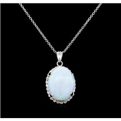 11.23 ctw Opal and Diamond Pendant - 14KT White Gold