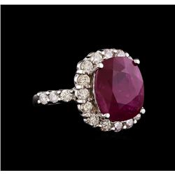 GIA Cert 8.27 ctw Ruby and Diamond Ring - 14KT White Gold