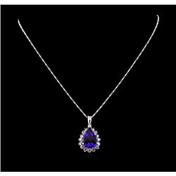 14KT White Gold GIA Certified 16.01 ctw Tanzanite and Diamond Pendant With Chain
