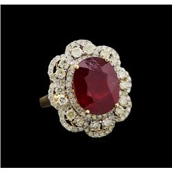 13.25 ctw Ruby and Diamond Ring - 14KT Yellow Gold