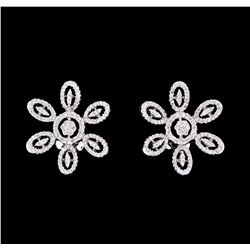 0.99 ctw Diamond Flower Burst Earrings - 18KT White Gold