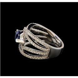 2.33 ctw Sapphire and Diamond Ring - 18KT White Gold